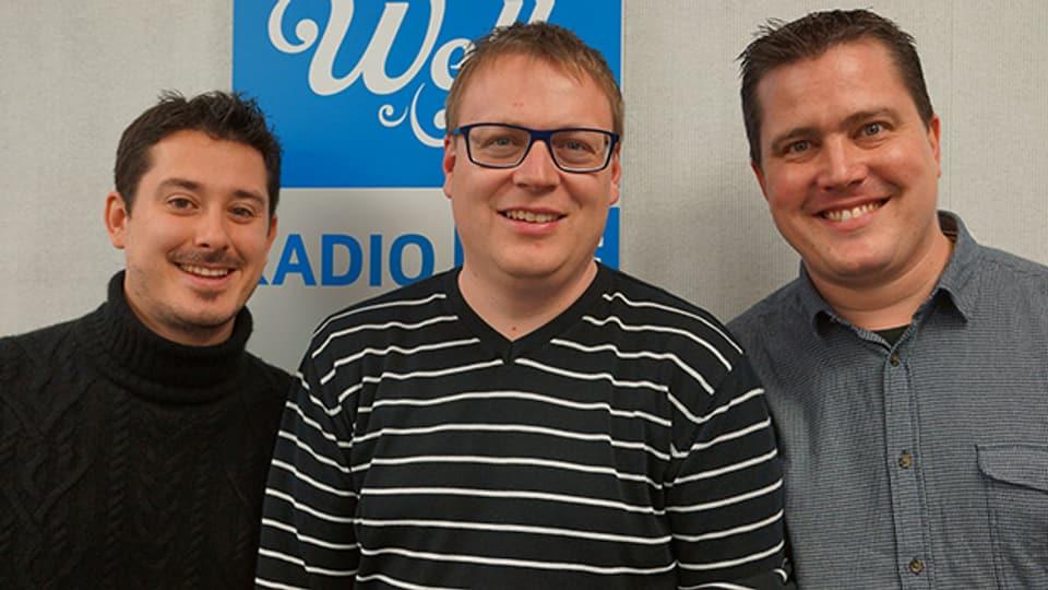 Stefan Onitsch, Sämi Studer und Thomas Vetterli im Studio von SRF Musikwelle.