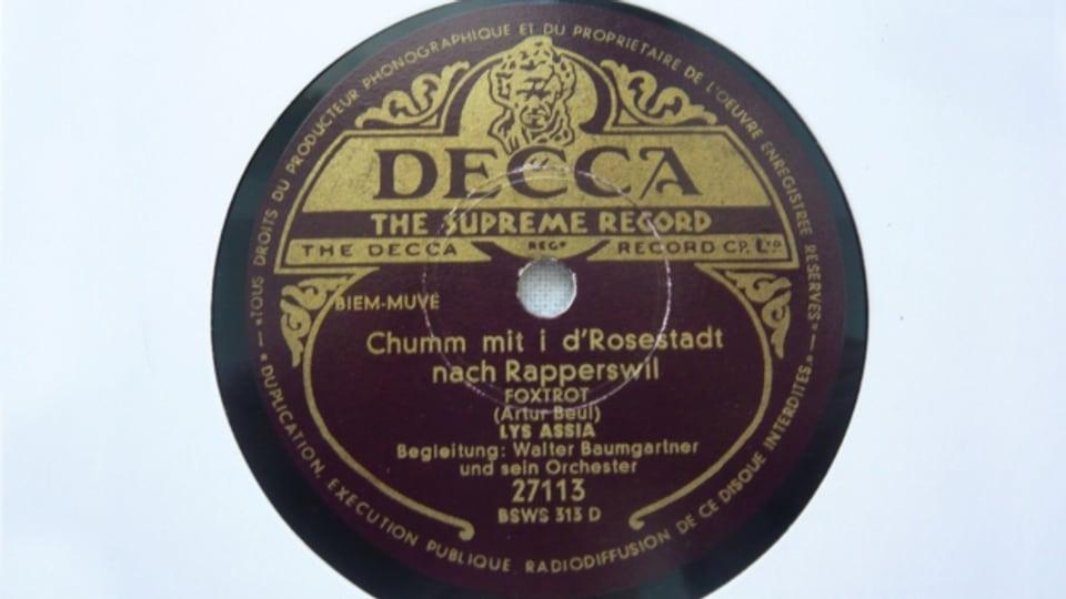 Original Schellackplatte mit dem Titel «Chumm mit i d'Rosestadt nach Rapperswil».