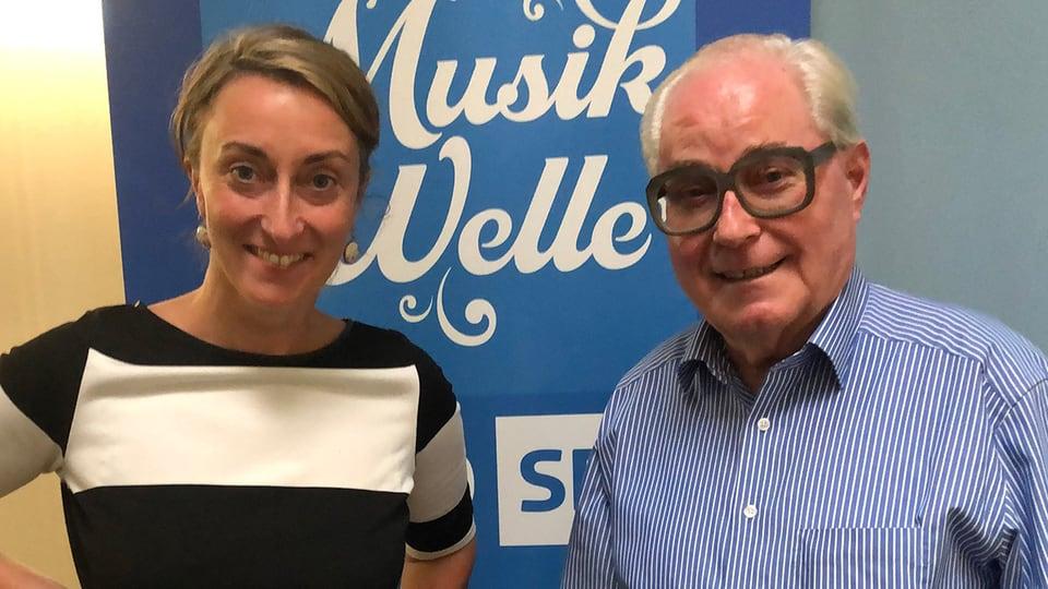 Renate Anderegg begrüsst René Wicky als Gast im «SRF Musikwelle Brunch».