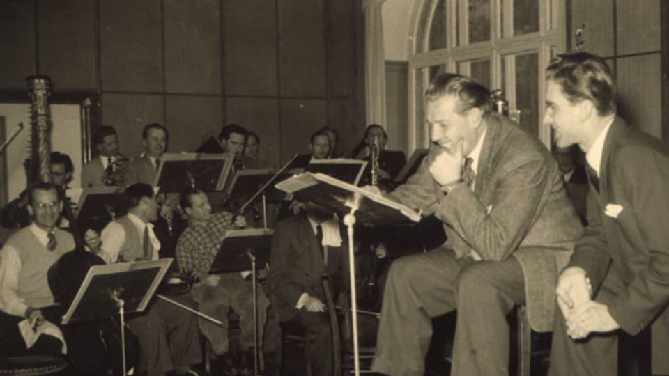 Willi Stech und Toni Leutwiler bei Aufnahmen mit dem Kleinen Orchester des SWF.