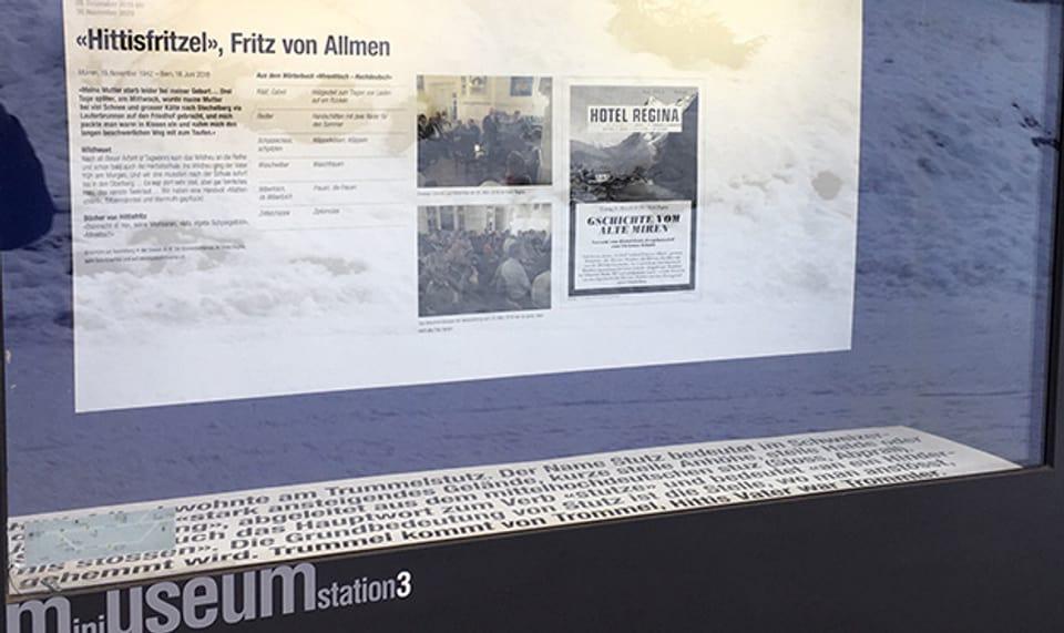 Im Mini-Museum ist der Schaukasten Nummer drei «Hittisfritzel» gewidmet.