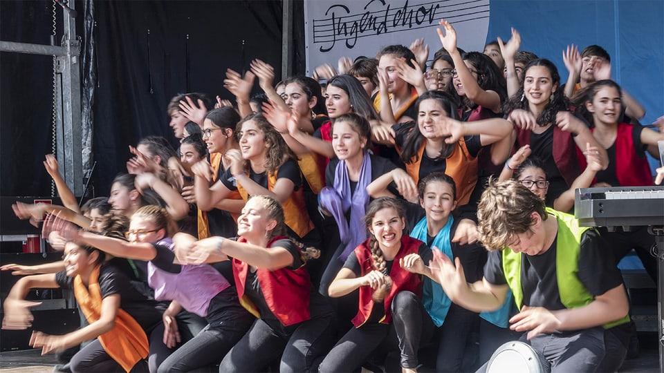 Der Coro Infantil da Universidade de Lisboa aus Portugal, 2018 am Europäischen Jugendchor Festival in Basel.