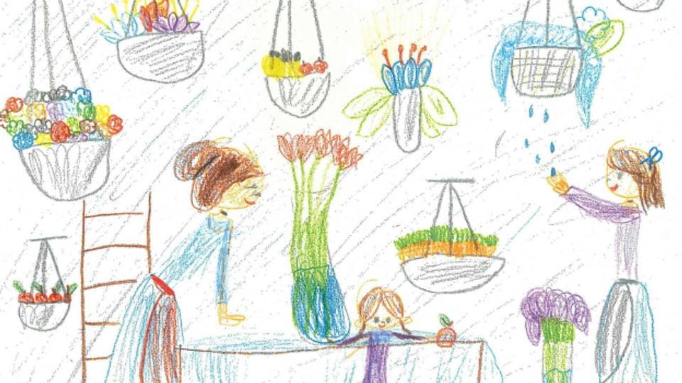 Kinder machen Zeichnungen für ältere Menschen.