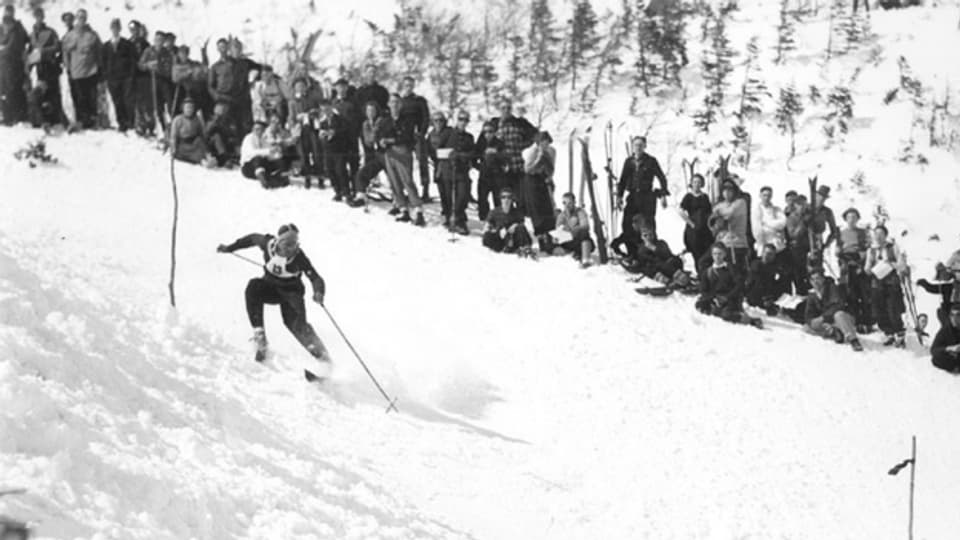 Walter Prager 1937 beim Edson Memorial Race am Tuckerman Ravine in New Hampshire.