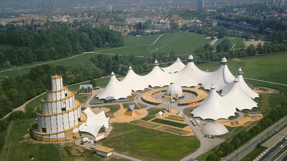 Der Galileiturm an der Heureka-Ausstellung 1991 auf der Allmend in Zürich-Brunau am Ufer der Sihl.