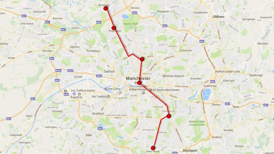 Carta da Google maps cun marcà la ruta.
