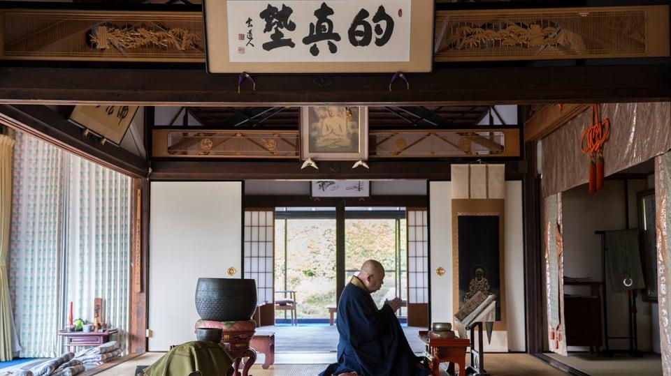 Der 80jährige Tempelmeister Gensho Hozumi in Kameoka