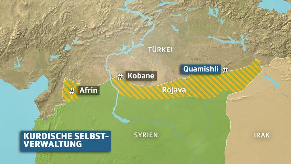 Karte Kurdische Selbstverwaltung in Syrien