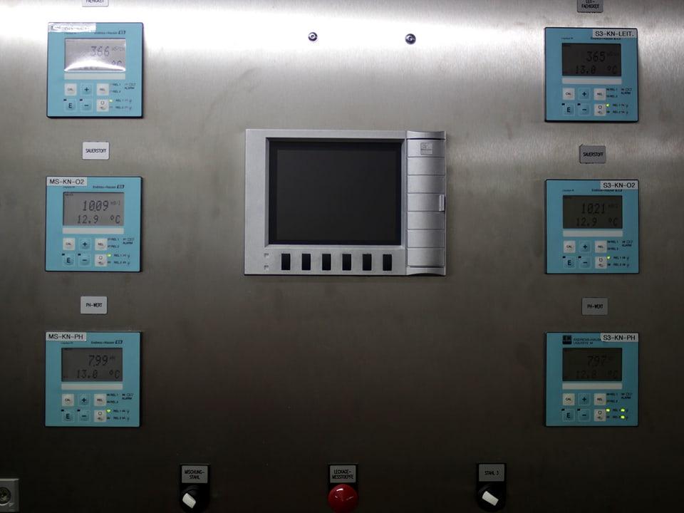 Live-Messungen von Temperatur, Sauerstoffgehalt, Säure-Base-Gehalt und Salzgehalt im Rhein.