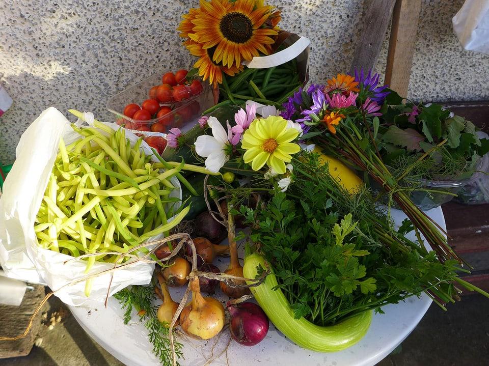 Frisches Gemüse und Blumen in einer weissen Schale.