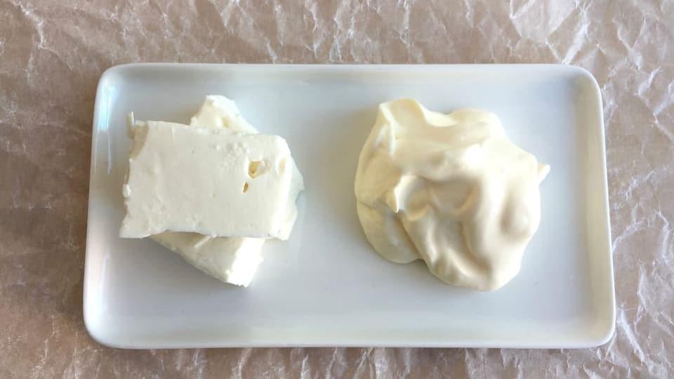 Feta und Crème fraîche.