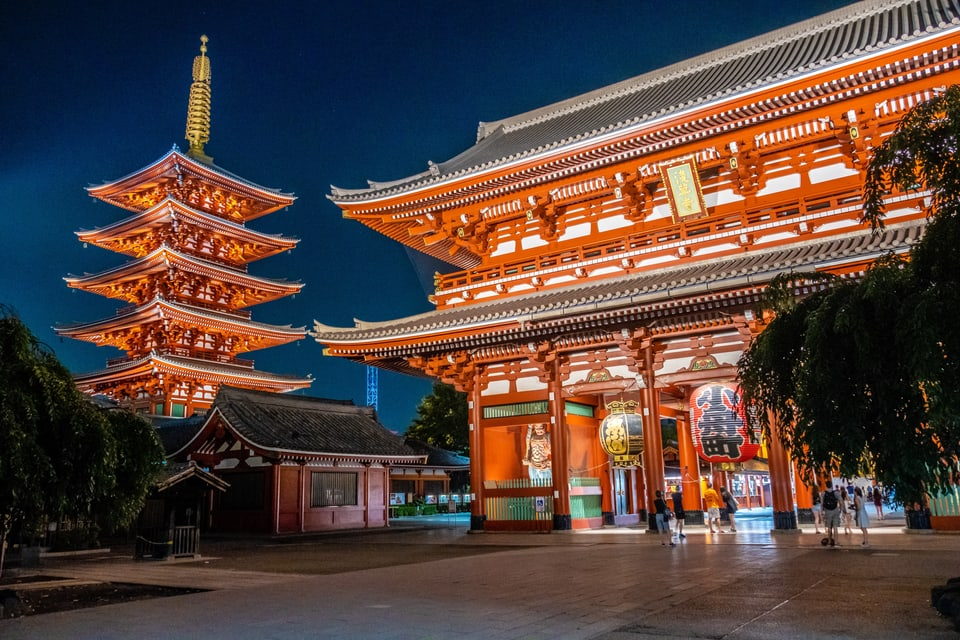 Tempel budistic da Asakusa e la pagoda a Tokio