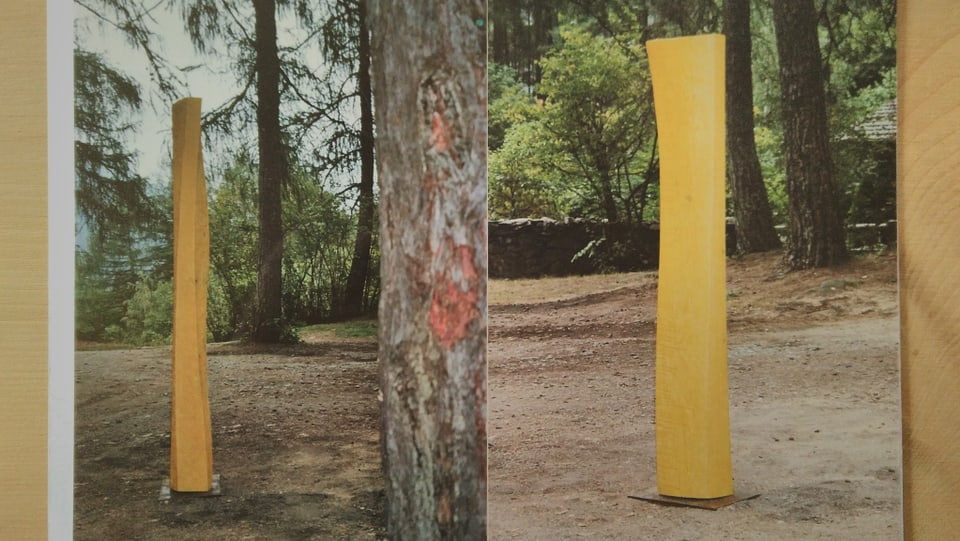 Duas fotografias cun sculpturas da lain.