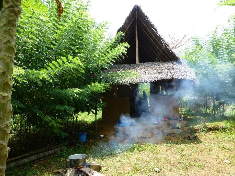 Lehmhütten in Sri Lanka.