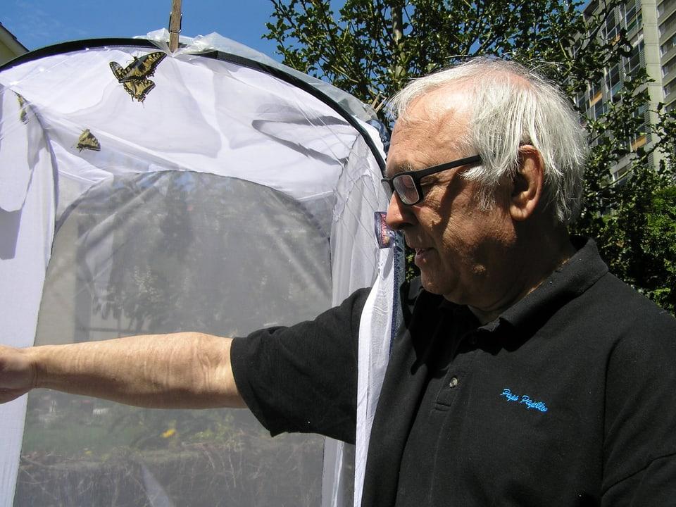 Marc de Roche vor dem Zuchtbehälter für Schmetterlinge, in dem drei Schwalbenschwänze fliegen.