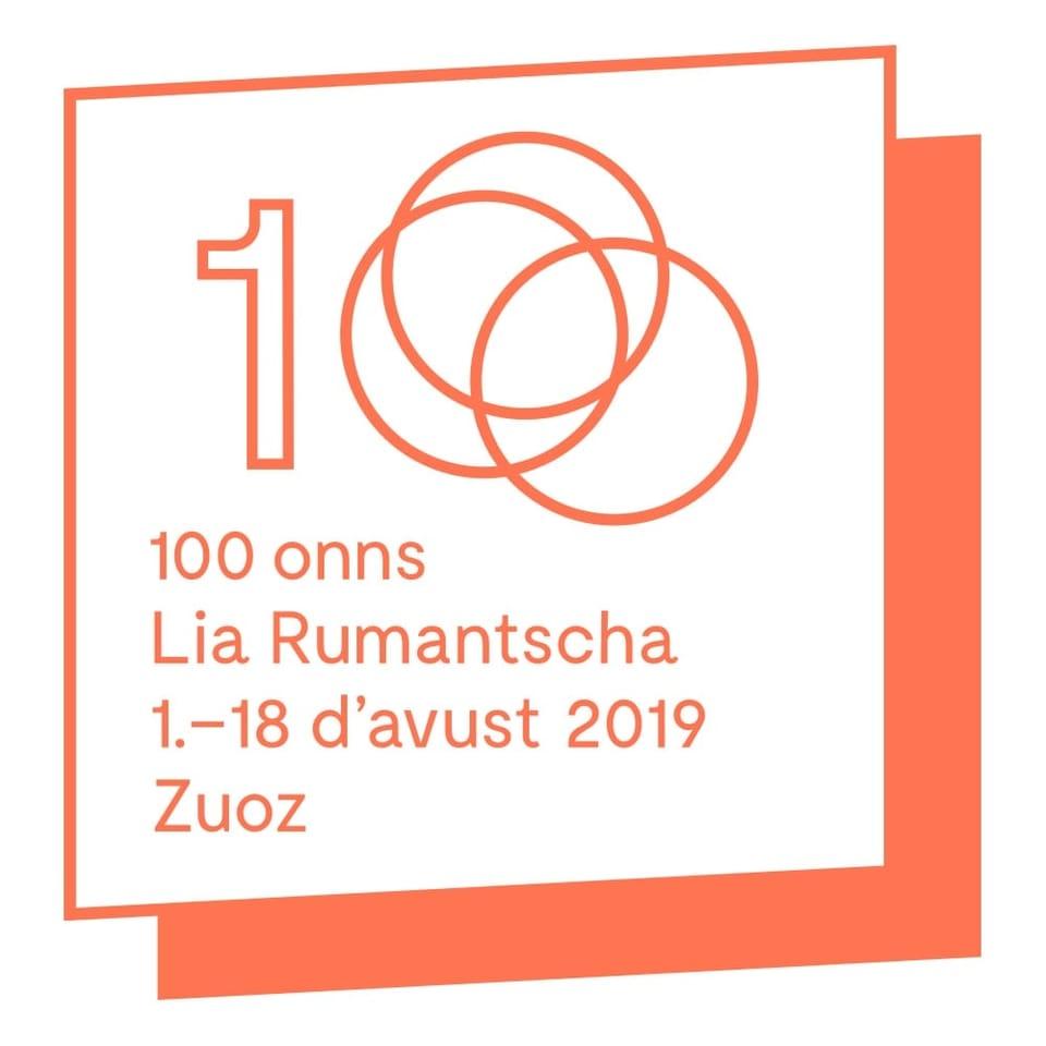 Logo da 100 onns Lia Rumantscha a Zernez.
