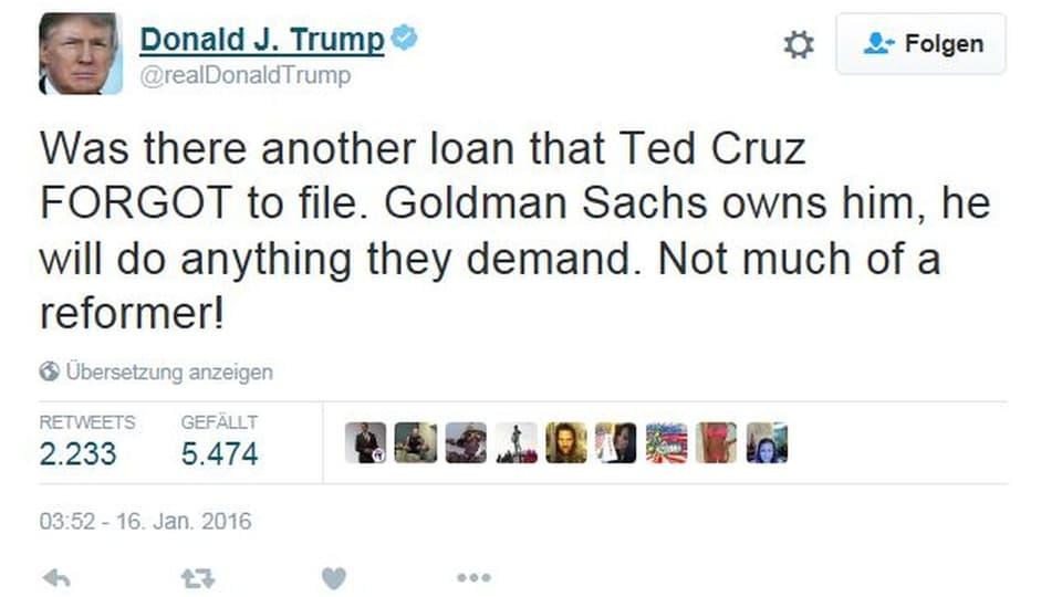 Donald Trump über Red Cruz, Gegenkandidat bei den Republikanern