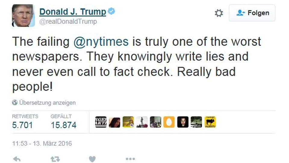 Donald Trump über die New York Times