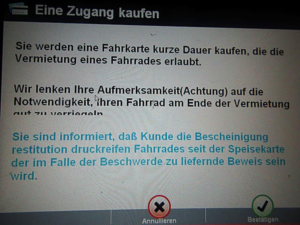 Bildschirm-Informationen für Fahrradvermietung.