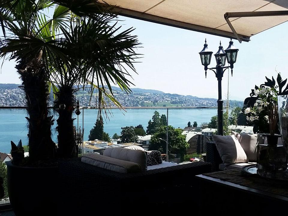 Balkon mit Palmen und Blick auf den See.