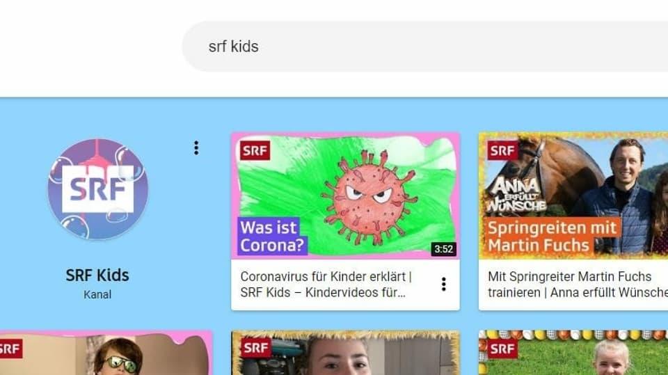 Zugriff SRF Kids: Einfach im Suchfeld eingeben und abonnieren
