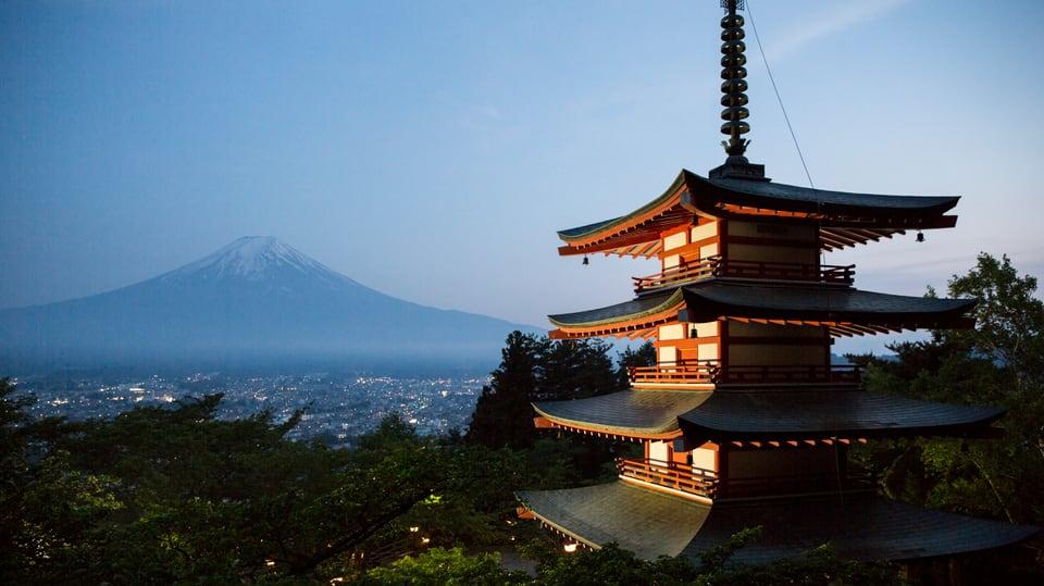 Chureita Pagoda und Fuji, in Fujiyoshida