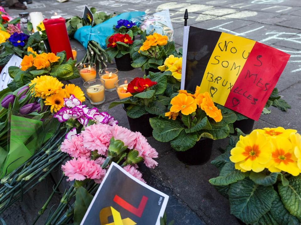 Blumen und belgische Fahne