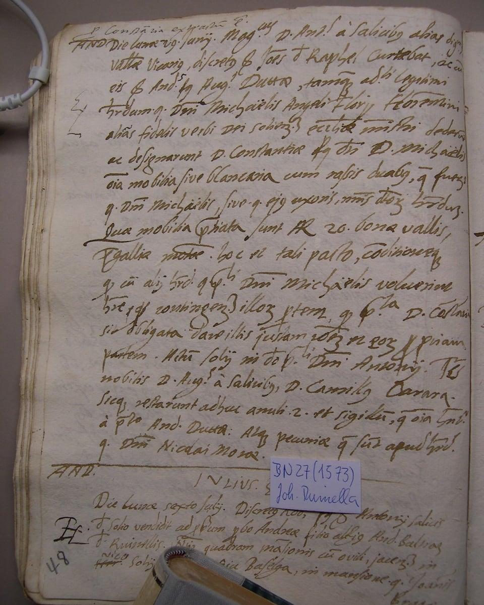 Testament da Michaelis Angeli Florii en il protocol notarial da Johannes Ruinella, 1573.