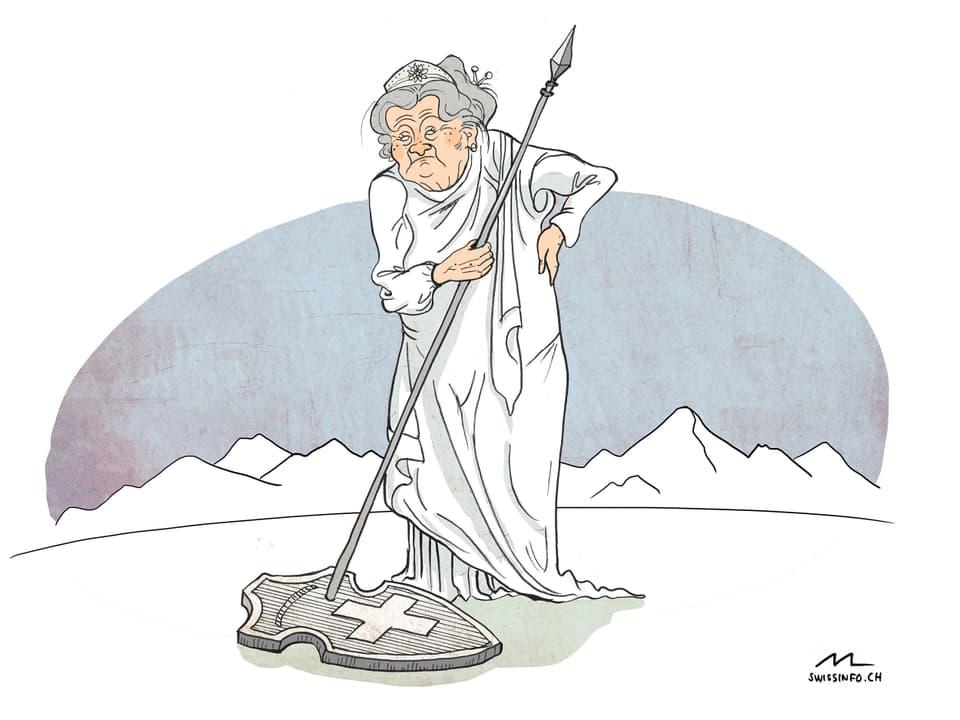 Ina da las caricaturas da Marina Lutz exponidas per il mument en il Museum per communicaziun a Berna