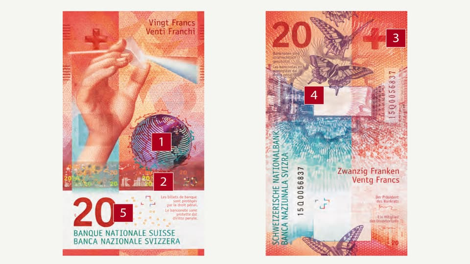 Lanova nota da 20 francs cun indicau ils 5 puncts da controlla.