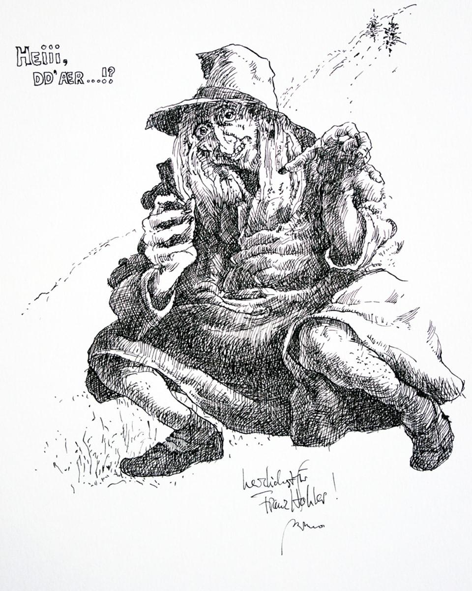 Ein Schwarz-Weiss-Zeichnung vom Totemügerli.
