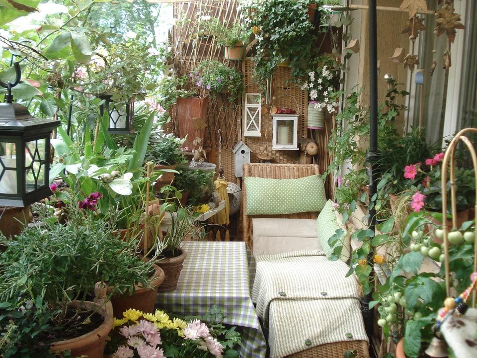Blick auf einen Balkon mit vielen verschiedenen Pflanzen und einer Liege.