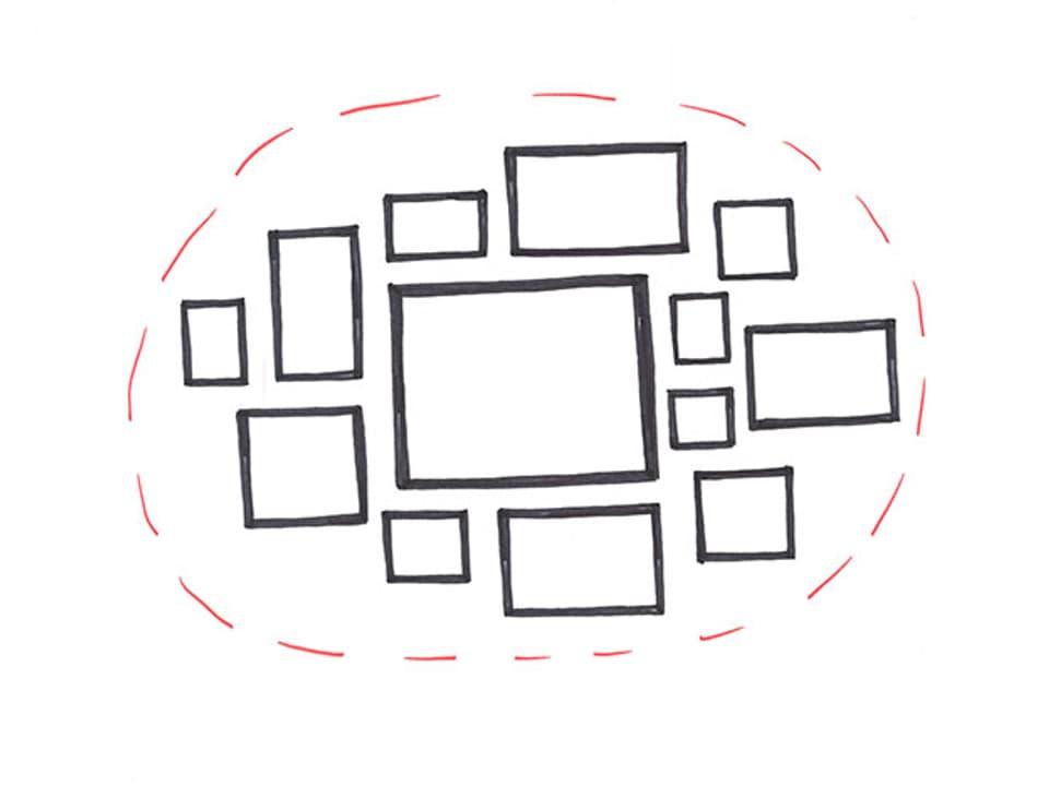 Skizze von einem imaginären Oval, in dem Bilder gehängt werden können.