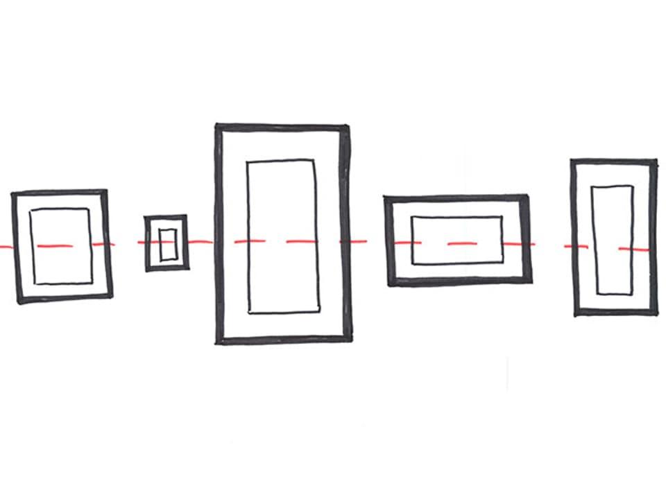 Skizze mit einer waagrechten Linie, die durch die Mitte der Bilder führt.