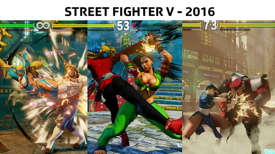 Von links nach rechts: Rainbow Mika, Laura, Chun Li aus Street Fighter.