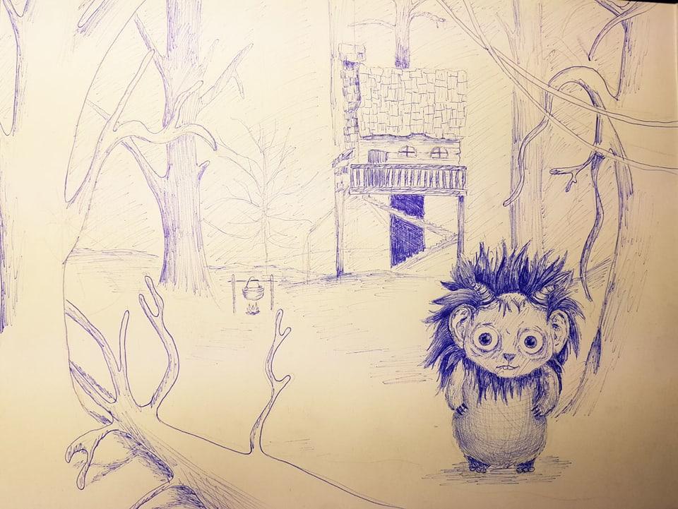 Totemügerli mit blauem Kugelschreiber gezeichnet.