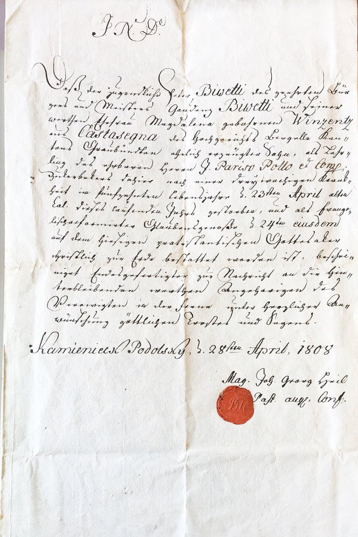 L'emigraziun en Russia n'era betg senza privel – qua l'attestaziun da mort da Peter Bivetti da Castasegna, mort cun 15 onns a Kamenicz-Podolsk