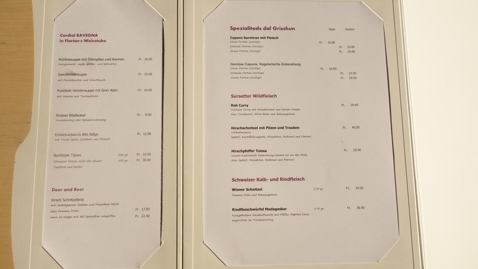 Exempel da la carta da menu.