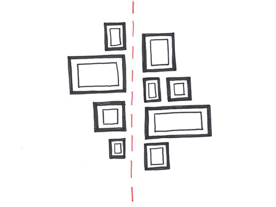 Skizze mit einem senkrechten Strich. Links und rechts davon sind Bilder angeordnet.