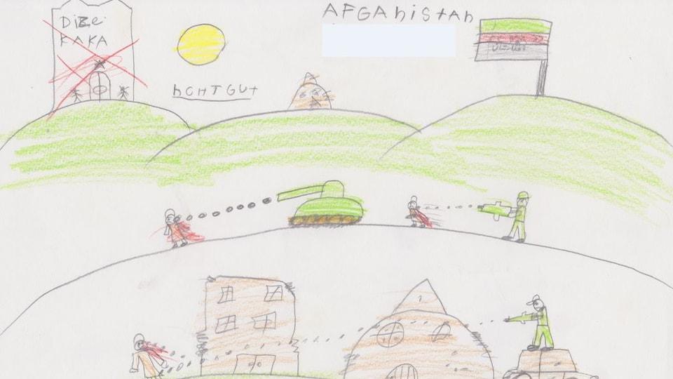 In dals maletgs d'uffants da vesair en l'exposiziun «Flucht nach vorn». - scenas da cumbat en l'Afganistan
