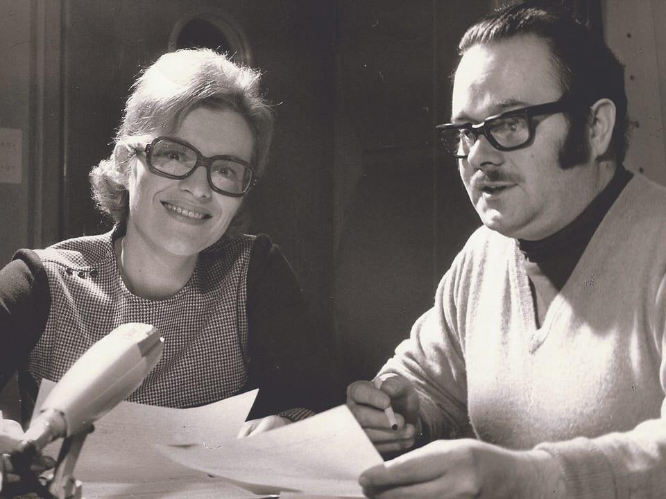 Jeannette und Martin Plattner auf einem Schwarzweissfoto von 1970.