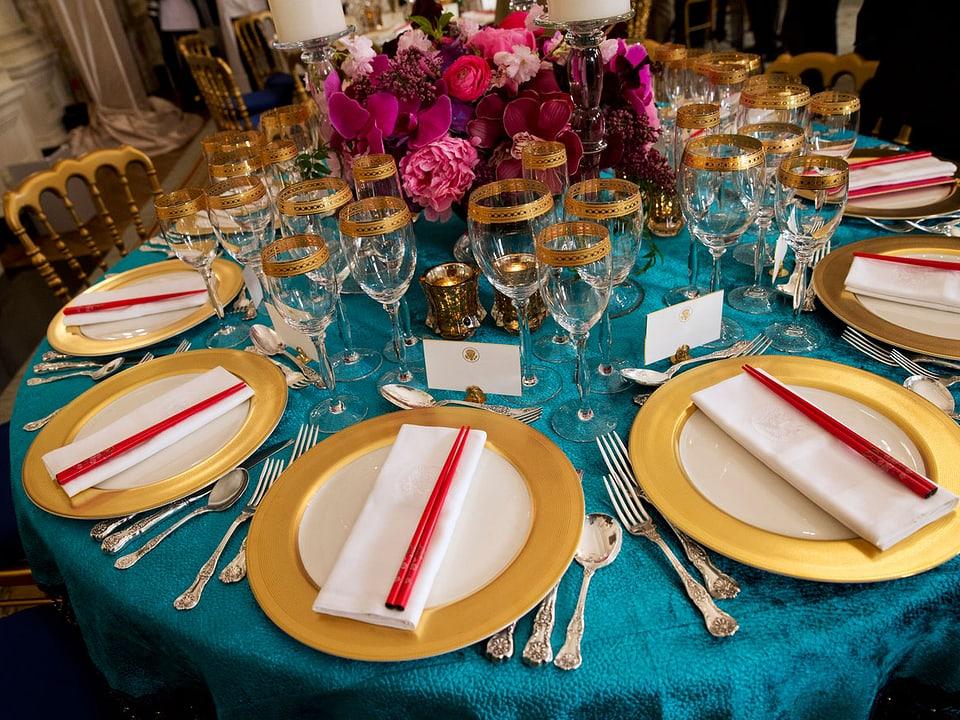 Gedeckter Tisch im Weissen Haus.