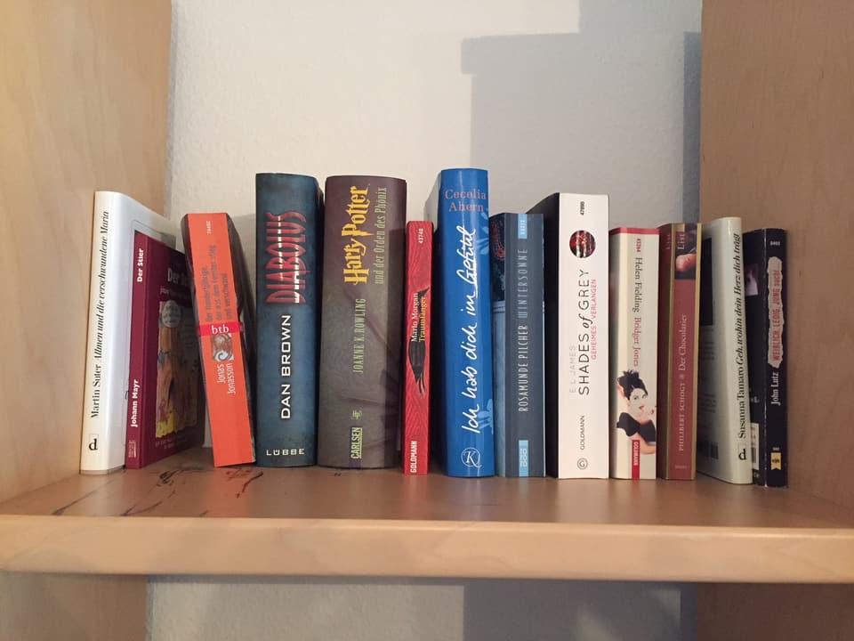 Im Bücherregal stehen Klassiker neben Bestsellern wie Harry Potter oder 50 Shades of Grey.