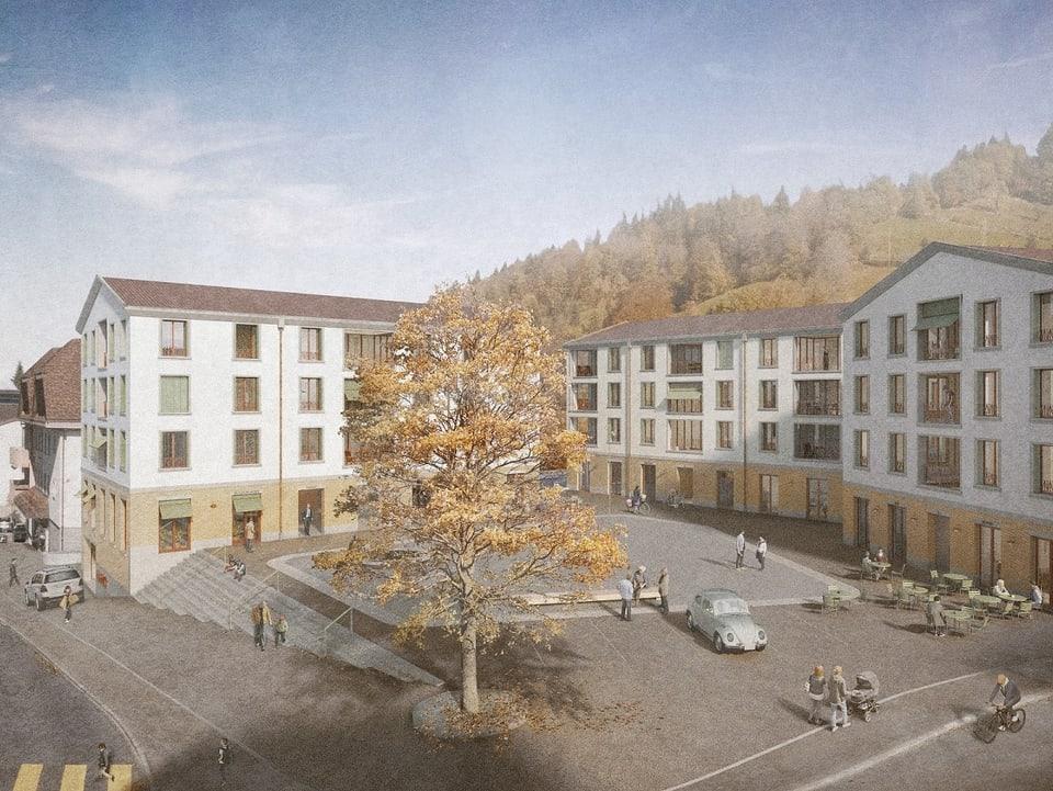 Visualisierung des neu geplanten Dorfplatzes in der Luzerner Gemeinde Entlebuch.