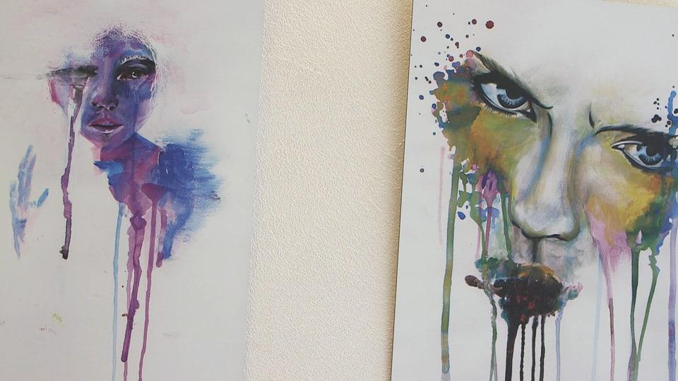 Dus maletgs da l'artista Andrina Casutt che mussan duas fatschas.