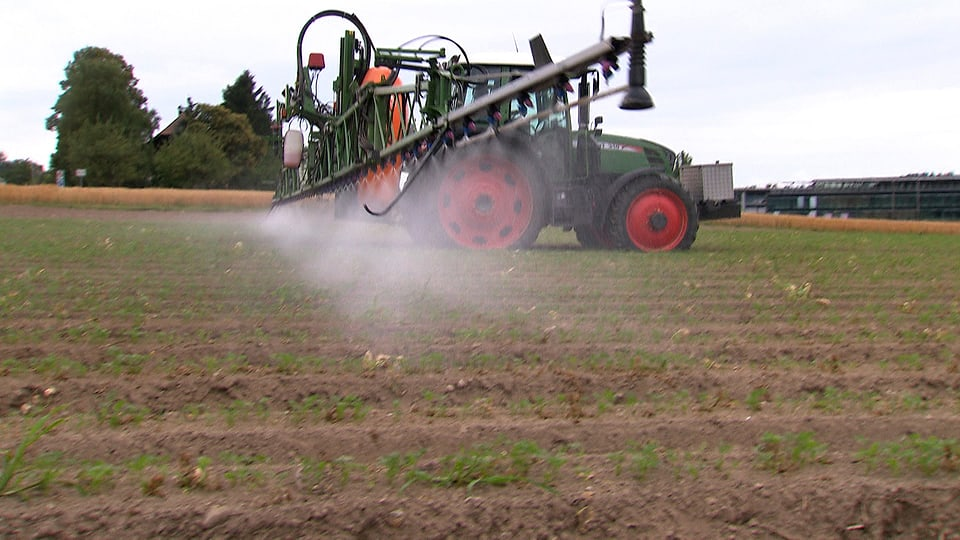 Traktor spritzt Pestizide auf sein angebautes Feld.