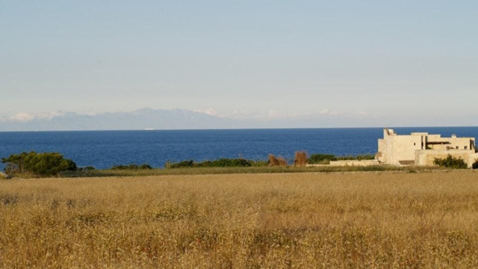 Cuntrada en la regiun Salento cun vista sin la mar.