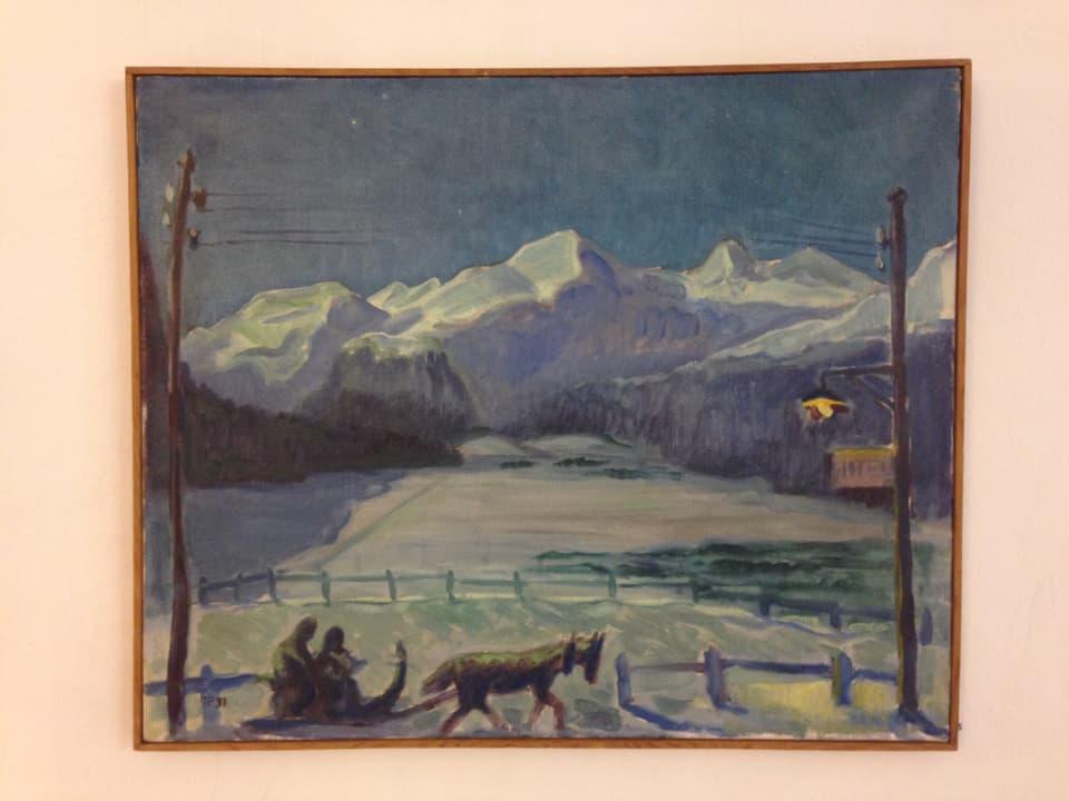 Exponat da vesair enfin mez settember en la Chesa Planta: Turo Pedretti – «schlitteda a cler glüna» (1931).