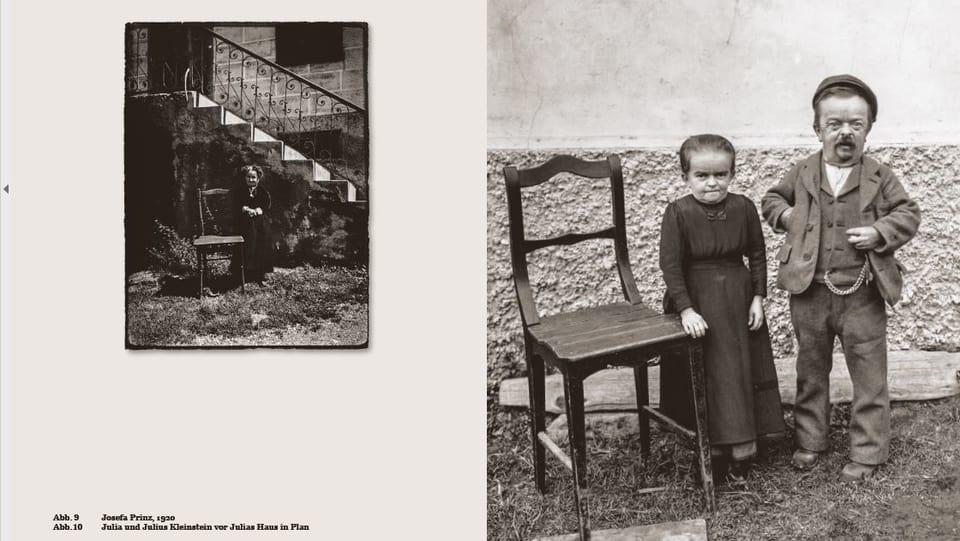 duas fotografias en nair ed alv che mussan persunas creschidas, dentant da pitschna statura
