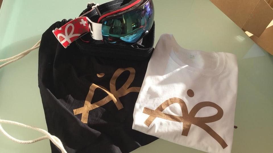 Skibrille von Freeski Star Andri Ragettli inklusive T-Shirt und Turnbeutel.